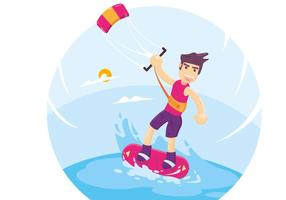 Kitesurfing Vector Illustration