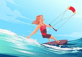 Vecteur de fille de kitesurf