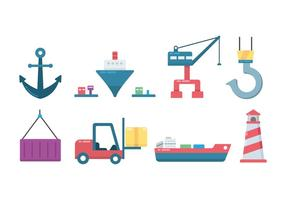 Ship and Harbour Icon vector