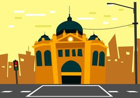 Flinders Street Station Distortion Illustration Style Vector