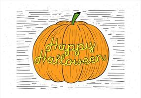 Ilustração de abóbora de outono desenhada mão