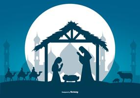 Beautiful Nativity Vector Scene