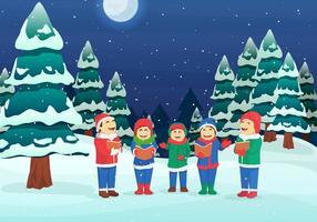 Childrens Singing Christmas Caroling Vector Illustration