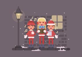 Young Kids Singing Christmas Carols On The Street Illustration vector