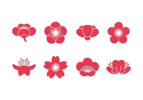 Iconos de vector de flor de ciruelo
