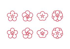 Plum blossom set icons vector