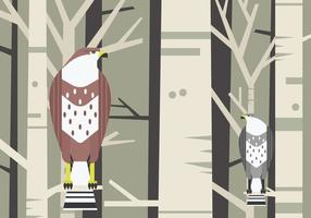 Buzzard Bird Sitting vid en gren vektor illustration
