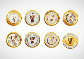 Top 10 distintivi vettoriale