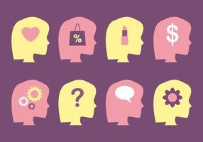 Female Brain and Mind Vectors