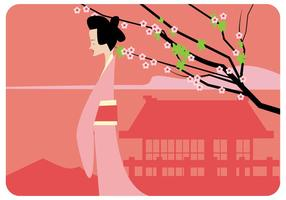 Japanese Girl And Plum Blossom Vector
