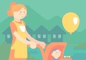 Nanny Met Een Kind In Kinderwagen Vector