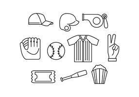 Free Softball Line Icon Vector