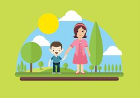 Nanny Playing with Kids Vector