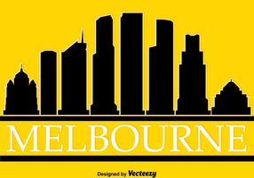 Silhouette de Melbourne sur le vecteur jaune