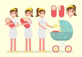 Activity of Nanny/Baby Sitter Vector