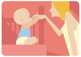 Niñera con bebé vector