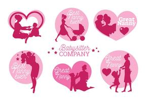 Conjunto de Nanny Labels e Badge Vectors