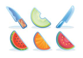 Slice Fruit Fridge Magnet Vector Set