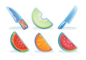 rebanada de frutas nevera imán conjunto de vectores