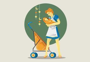 Vector retro del cuidado de niños