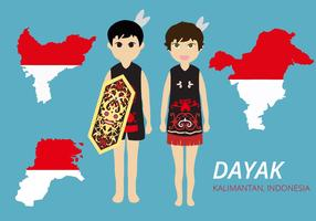 Free Dayak Couple Wearing Traditional Dress Vector