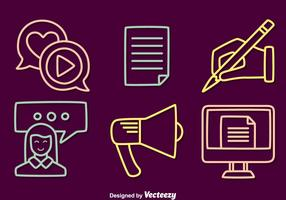 Content Creator Line Icons Vector