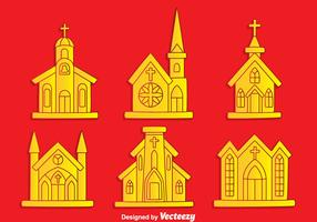 Abbey Collection On Red Background Vector