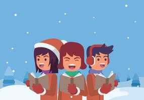 Teenagers Singing Carols Illustration