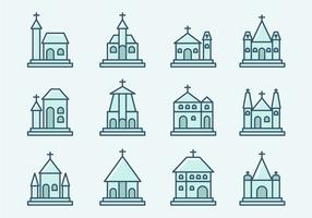 Abbey and Church Icons vector