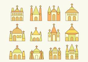 abadía y vectores de iglesia