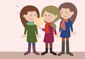 vector carolers lllustration