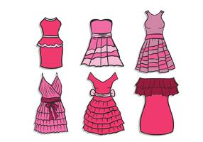 Dresses with Frills Vector Set