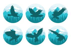 Buzzard in Mountains Vector Silhouettes