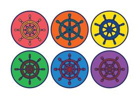 Ships wheel vector set
