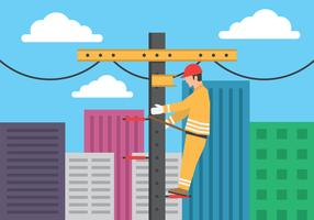 Electrician Working With High Voltage Equipment On Power Line Support Illustration