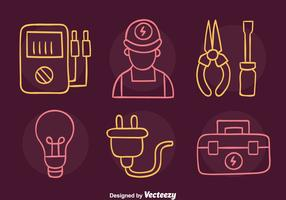 Croquis Lineman Icons Vector