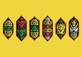 Dayak Shield Tribal Motif Vector Collection