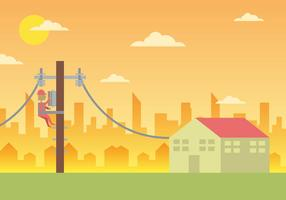 Lineman CIty Landscape Illustration Vector #2