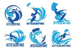 Conjunto de Kitesurfer Voando sobre os vetores da onda