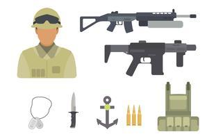 Vecteurs soldat plat