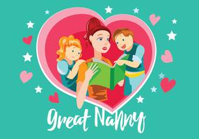 Gran niñera con niños Vector