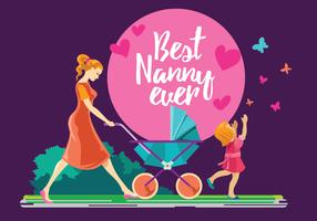 Nanny playing with Children Vector