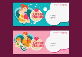 Set Banner of Nanny and Babysitter Company Service Vector