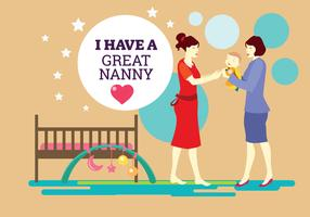 Eu tenho um grande fundo do vetor Nanny