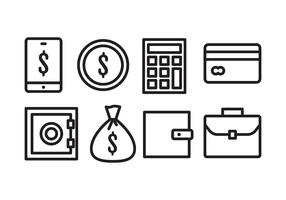 bank pictogram set