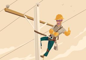 Illustration Of A Power Lineman