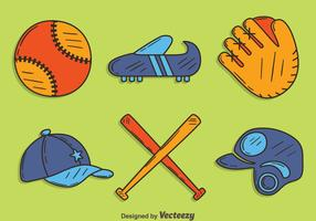 Hand gezeichneter Softball-Element-Vektor