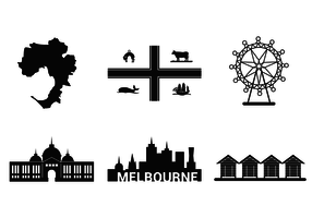 Melbourne Famous Place Vector