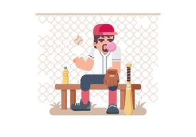 Softball Pitcher Sitting on a Bench Vector