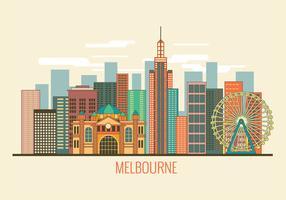 Imagen de paisaje urbano de Melbourne Australia Vector